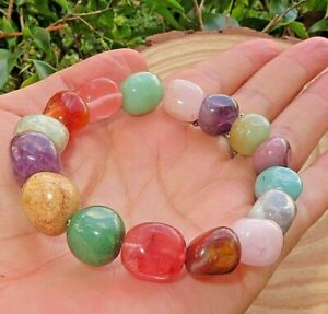 1 Multi stone Stretchy Quartz Pebble Bracelet 10 mm Reiki Heart Chakra 7.5""
