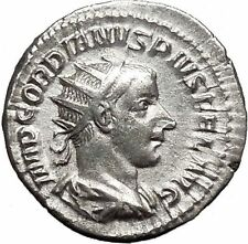 "GORDIAN III 241AD Ancient Silver Roman  Coin Hero ""Farnese"" Hercules i49883"