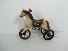 Toy Hobby Horse Figurine Wheels Wood Yarn Tail Doll Display Primitive Style