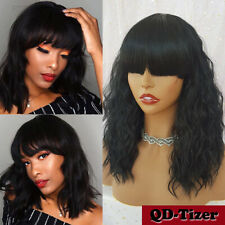 Short Wavy Bob Synthetic Wigs Full Bangs None Lace Wig Black Hair Heat Resistant