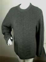 J.Crew Women's Sz S 100% Wool Sweater Cable Knit Chunky Dark Gray Crewneck Mint