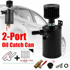 2-Port Oil Catch Can Reservoir Separator + Drain Valve Breather Filter Baffled