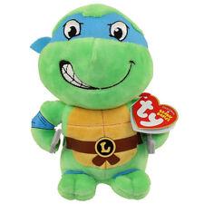 "Ty 6"" Beanie Baby Teenage Mutant Ninja Turtles LEONARDO New w/ Heart Tags MWMT's"