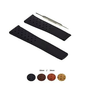 22/24mm Genuine Leather Watch Strap Band Fits For Tag Heuer Spacex W/ Tool