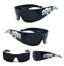 LOCS Biker Sports Gangsta Mens Sunglasses Thick Black (Skull Arms) UV400 LC56