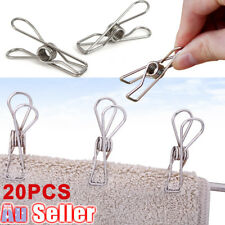 20 Pcs Stainless Steel Clothes Pegs Hanging Clips Pins Laundry Windproof Clamp H