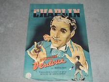 Rare Original VTG 1947 Charlie Chaplin Monsieur Verdoux Denmark Movie Poster