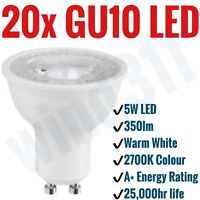 20x GU10 5W LED 350lm Warm White 2700K Light Bulbs Spotlight Lamp A+ Non Dimm