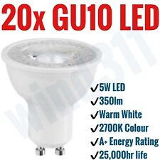 20x GU10 5W LED 350lm Warm White 2700K Light Bulbs Spotlight Lamp A+ Non Dimm