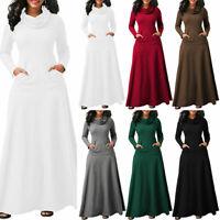 Womens Kaftan Long Sleeve Cowl Neck Long Dress Ladies Winter Jumper Slim Dress