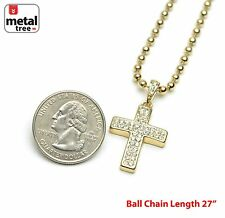 "New Iced Out Hip Hop Cross Pendant 27"" & 3 mm Ball Chain Set/ MMP 819 G"