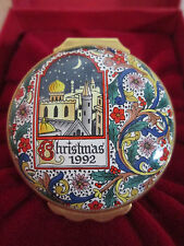 Halcyon Days Enamel Box LITTLE TOWN OF BETHLEHEM Christmas 1992 with Display Box