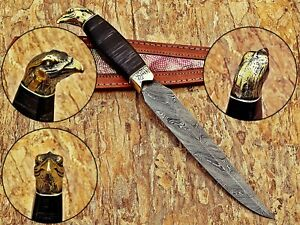 BEST HANDMADE DMASCUS HUNTING KNIFE WITH EAGLE BRASS POMMEL AND WOOD HANDLE