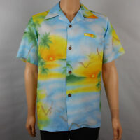 Vtg Tahiti Imports Men's Short Sleeve Button Front Floral Hawaiian Shirt Size XL