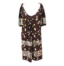 480856a51 Kenzo Silk Cotton Brown Dress with polka dots and sequins. UK Size Large.