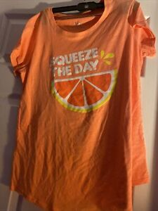 """Justice Girls Size 18 plus T-shirt Orange with """"SQUEEZE THE DAY"""" & Orange slice"""