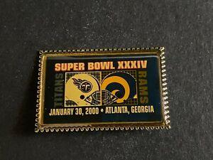 Vintage 2000 Super Bowl XXXIV Lapel Pin St. Louis Rams Tennessee Titans NFL