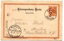 Austria 1892 2Kr Postal Stationery card from Divaca Bahnhof