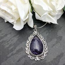 Antique Silver Tone Vintage Style Amethyst Pendant Necklace