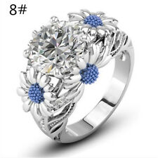 Light blue Round White Sapphire Daisy Charm Ring Silver Lady Size 5-11