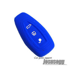 Blue Silicone Car Key FOB Cover Case For Ford Focus Ecosport Kuga Escape Fiesta