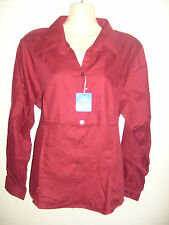 Ladies MAROON RED long Sleeve fitted Blouse Work/office/social Choose Size