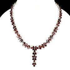 Silver 925 Genuine Natural Red Garnet Flower Design Drop Necklace 171/2 Inch