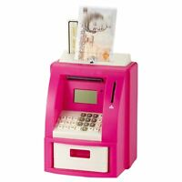 Pink Electronic Coin Note Money Counting ATM Box Saving Safe Digital Piggy Bank
