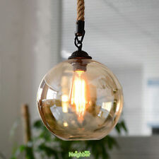 Retro Industrial Glass Ball Hemp Rope Pendant Lighting Lights Ceiling Fixtures