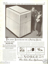 1937 LARGE Print Ad of Borg Warner Norge Air Conditioning Furnace