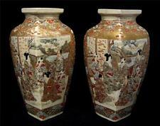 C19th Century Pair Satsuma Vases Unusual shape High Level Figure Decoration