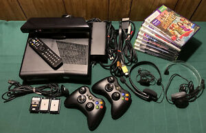 Xbox 360 Console Kinect 2 Controllers Headsets Cords Cables Remote & 8 Games Lot