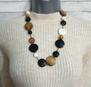 STATEMENT Necklace Black/Brown/White Flat Beads Wood & Plastic Jewellery Modern