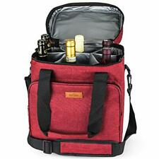 New listing Insulated Wine Carrier 6 bottle Bag Tote Removable Padded 6-Bottle 6-Red