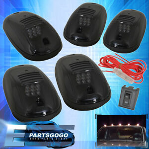 5Pc Smoke Lens 9 Amber Led Cab Roof Clearnace Lights Truck/Suv/4X4 Wiring Kit