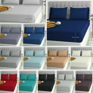 Percale Quality 25cm Fitted bed Sheet Single 4FT Double King Super King Size