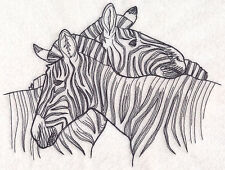ZEBRA SKETCH NEW SET OF 2 BATH HAND TOWELS EMBROIDERED BY LAURA