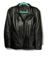 $895 HUGO BOSS Leather Jacket Men's Size Medium 40R Mens Black Winter