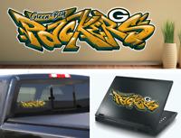 Green Bay Packers Graffiti Vinyl Decal 8x2.5