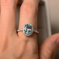 14K Solid White Gold Diamond Rings 2.30 Carat Oval Aquamarine Engagement Ring