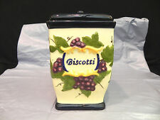 """Biscotti cookie jar Handpainted for Nonnis Beautiful fruit design 9 1/2"""" tall"""