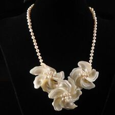 """ww7948 60x25-45x22mm Mother of pearl MOP Shell pearl flower beaded necklace 20"""""""