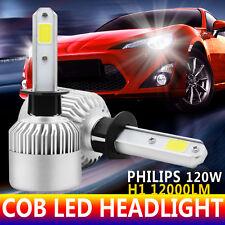 Pair 12000LM LED H1 Philips eadlight Kit Low Beam Bulbs 6500K White High Power