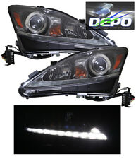 2006-2010 Lexus IS250 IS350 Halogen BLACK Projector Head Lights White LED DRL