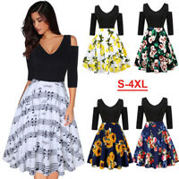Plus Size Women Boho Cold Shoulder Summer Casual Party Evening Short Swing Dress