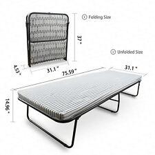 Platform Folding Metal Bed Rollaway Guest Bed Cot w/Mattress Twin Size Bedroom
