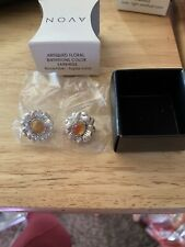 "Avon Antiqued Floral Birthstone Earrings App 1/2"" Diameter November Topaz Color"
