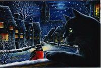 Black CAT ART Night Bird Bullfinch Winter by Garmashova NEW Russian Postcard