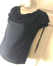 River Island Black chiffon Cowl Neck ruched strings Top UK 14 any occasion
