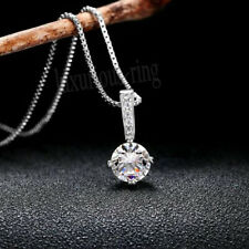 Near White Gorgeous 7 mm Round Moissanite Pendant For Women 14k Solid White Gold